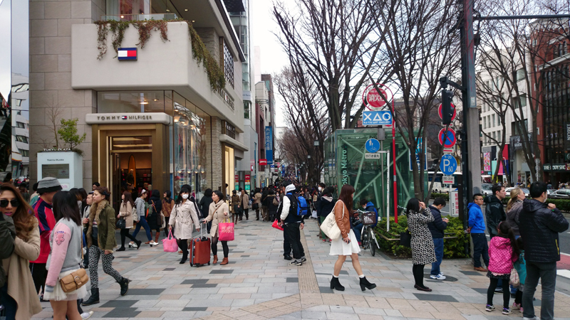 Walking traditional and modern areas in Tokyo